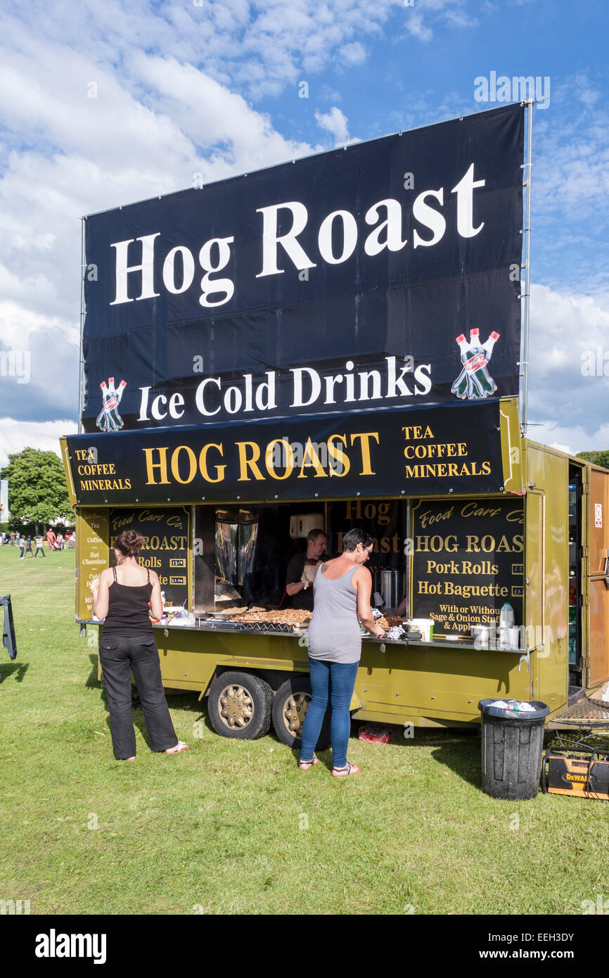 Hog Roast food stall at a summer fair. Stevenage, Hertfordshire, England, GB, UK. Stock Photo