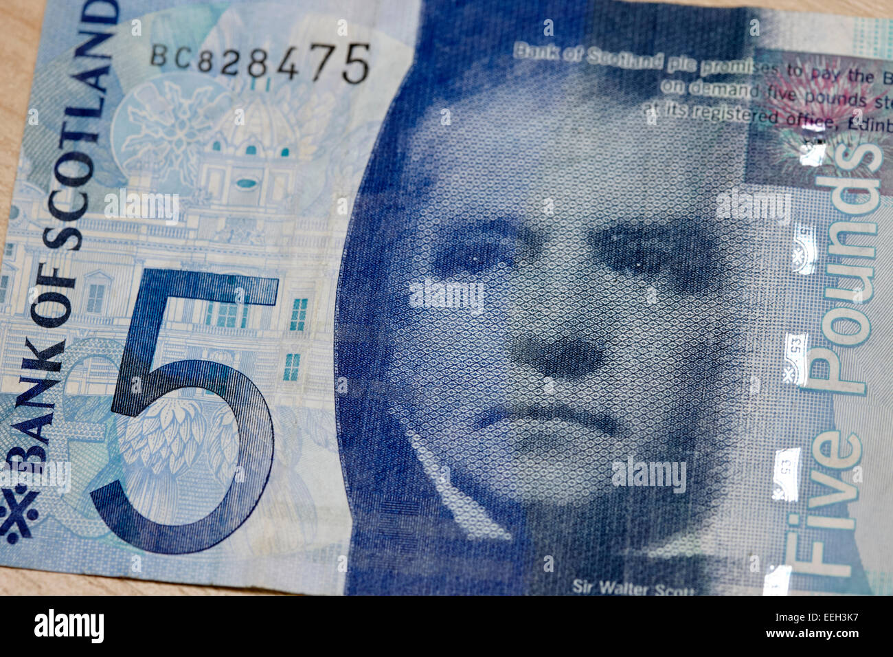 sir walter scott on the polymer bank of scotland five pounds banknote - Stock Image