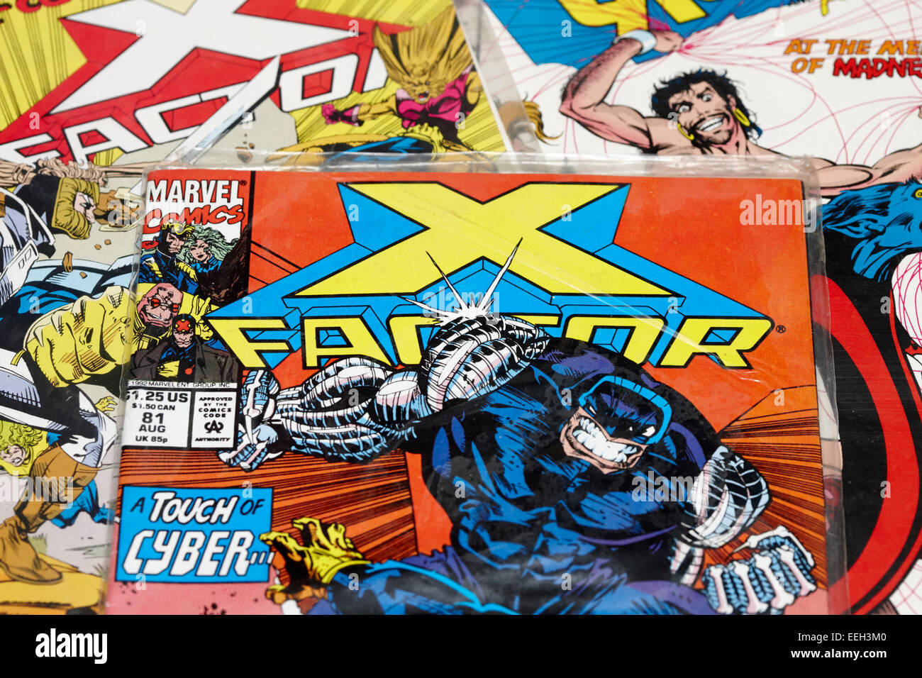 collection of old marvel comics including x-factor - Stock Image