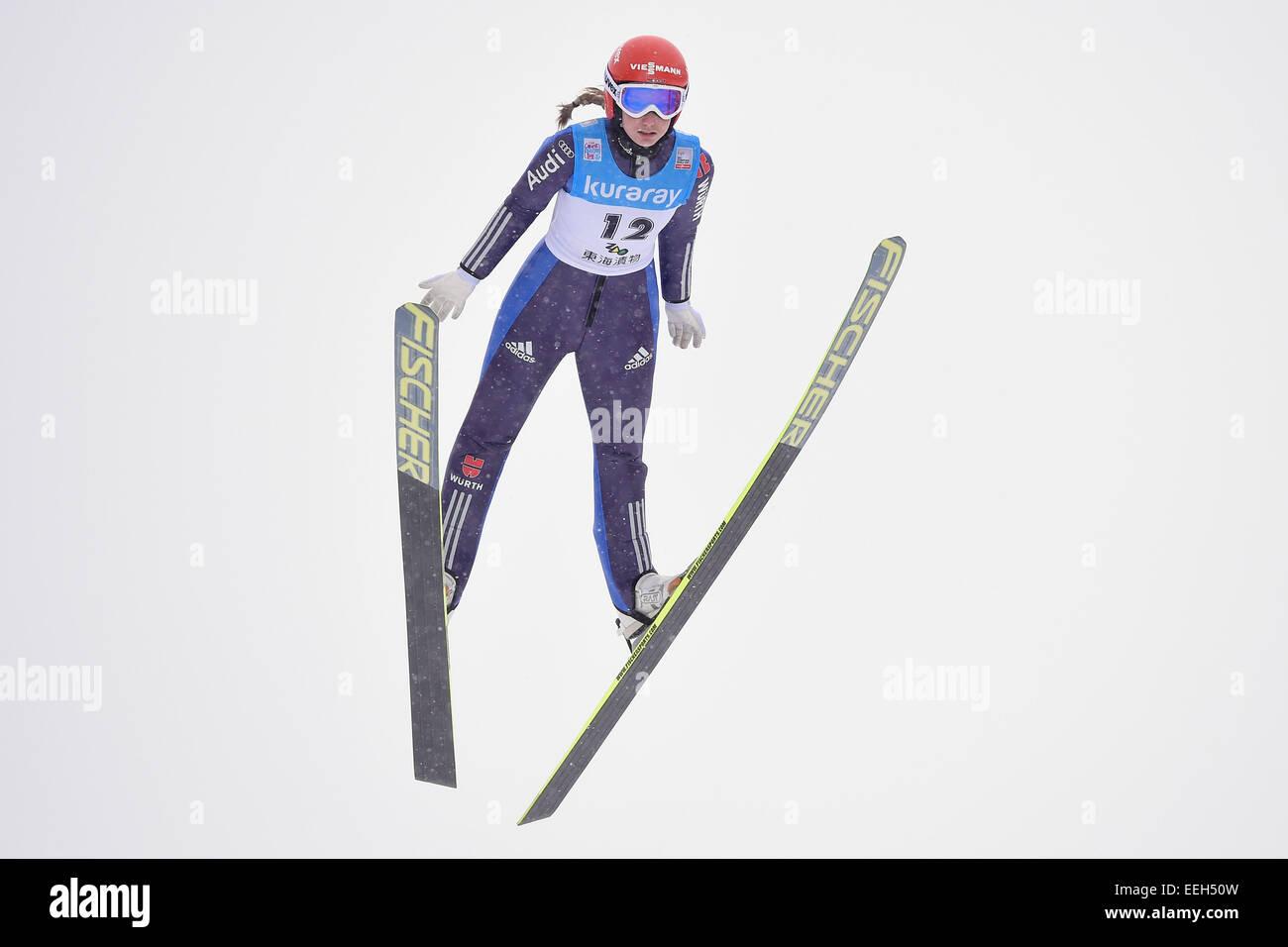 Zao Jumping Hills, Yamagata, Japan. 18th Jan, 2015. Svenja Wuerth (GER), JANUARY 18, 2015 - Ski Jumping : FIS Ski - Stock Image