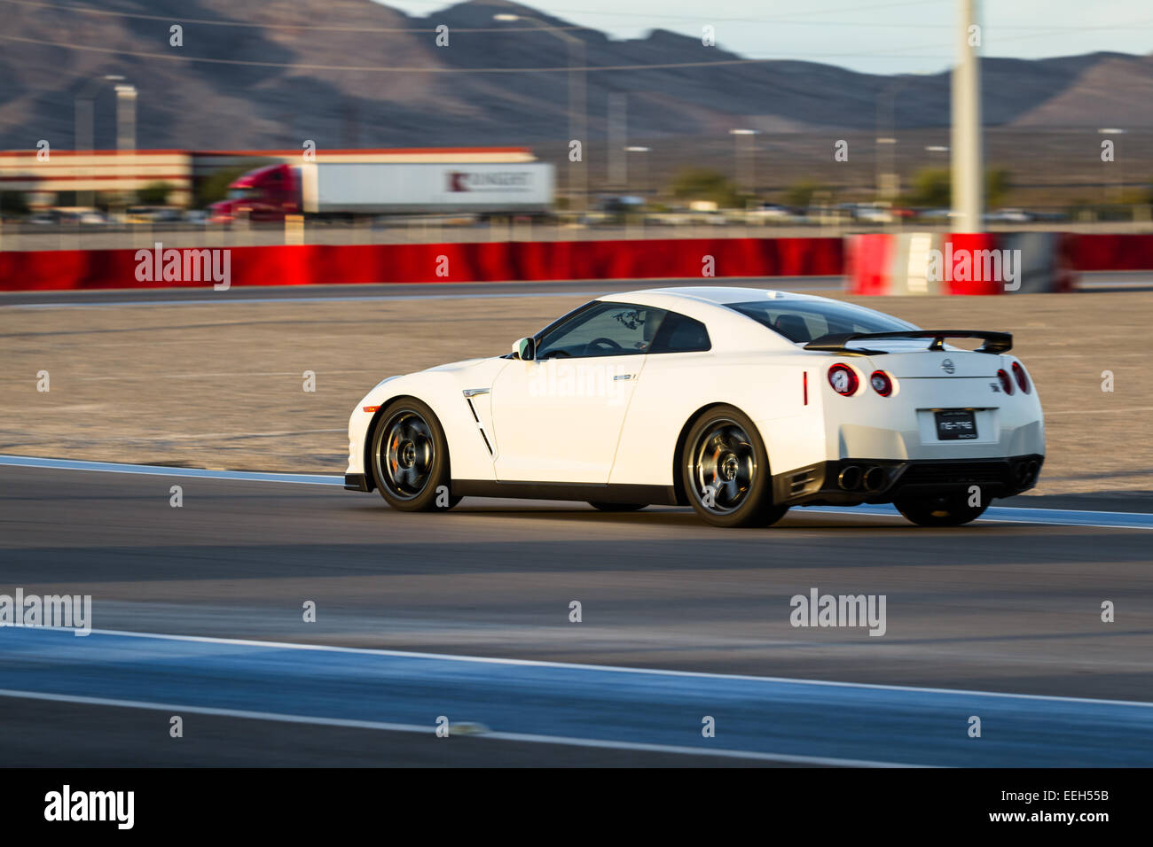 las vegas nevada - december 09 : nissan gtr going around the track