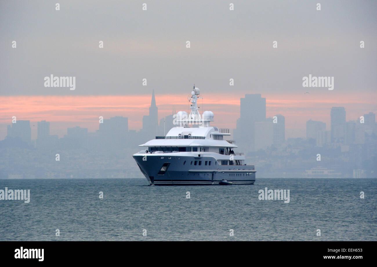 super yacht anchored off Sausalito in San Francisco BAY - Stock Image