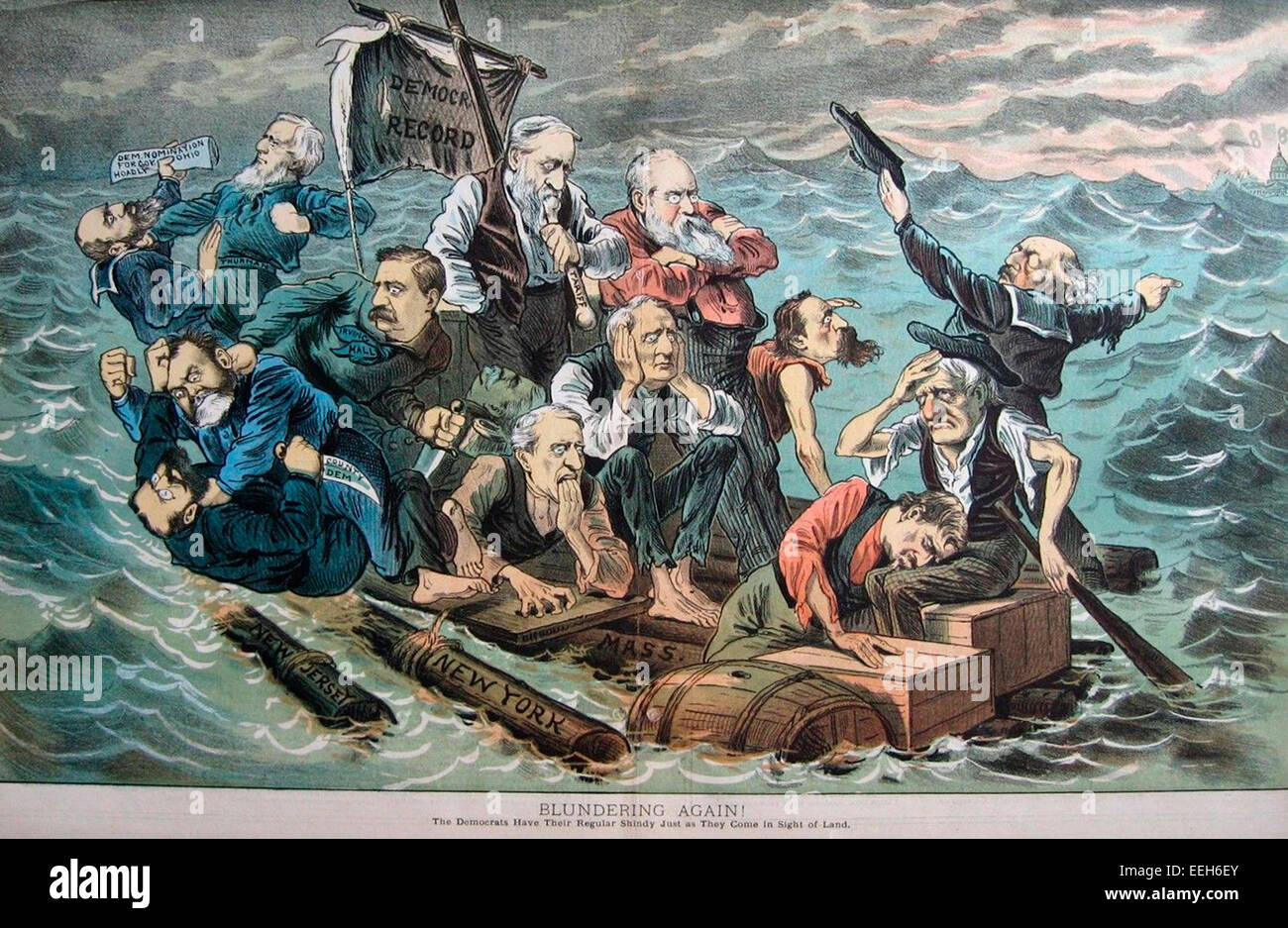 A group of Democrats on a log raft that is breaking up within sight of land, with two logs labeled 'New Jersey - Stock Image
