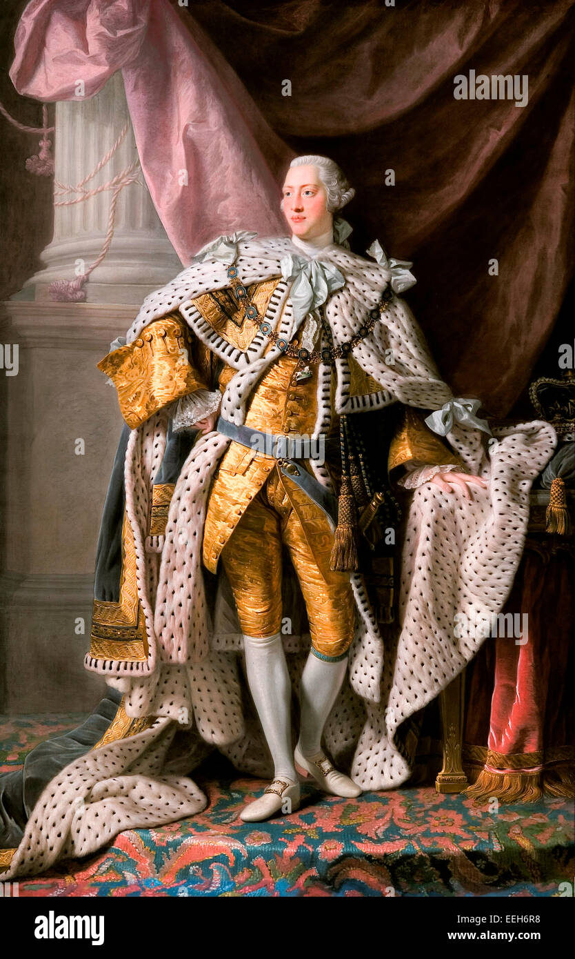 King George III in coronation robes, circa 1765 Allan Ramsay - Stock Image