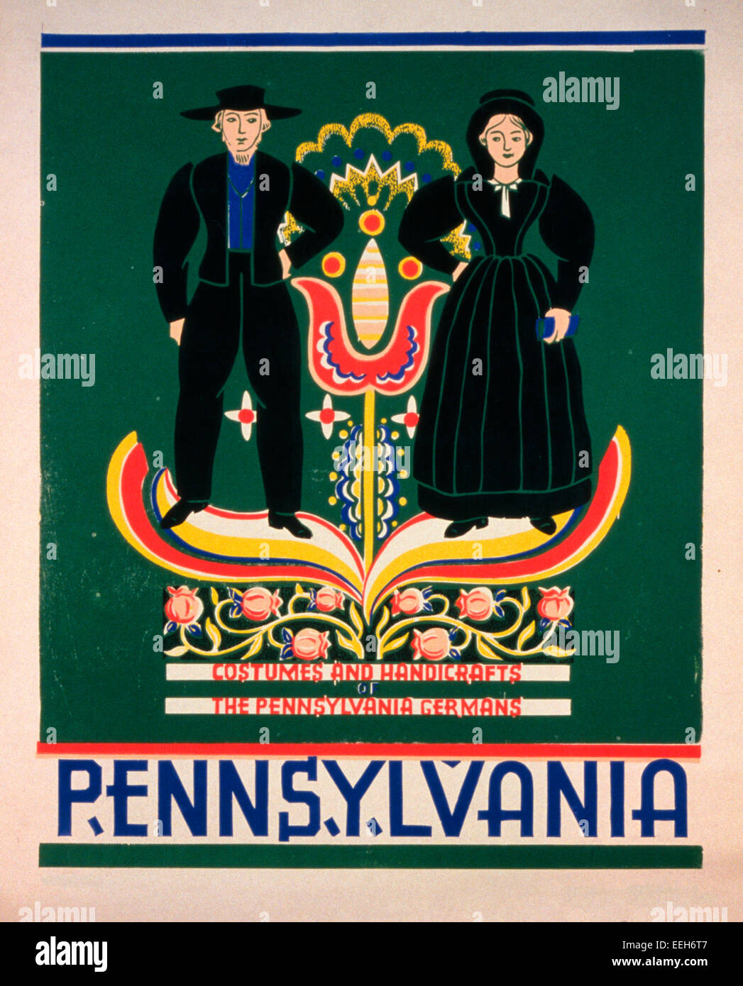 Pennsylvania Costumes and handicrafts, the Pennsylvania Germans - Poster promoting Lancaster County, Pennsylvania, - Stock Image