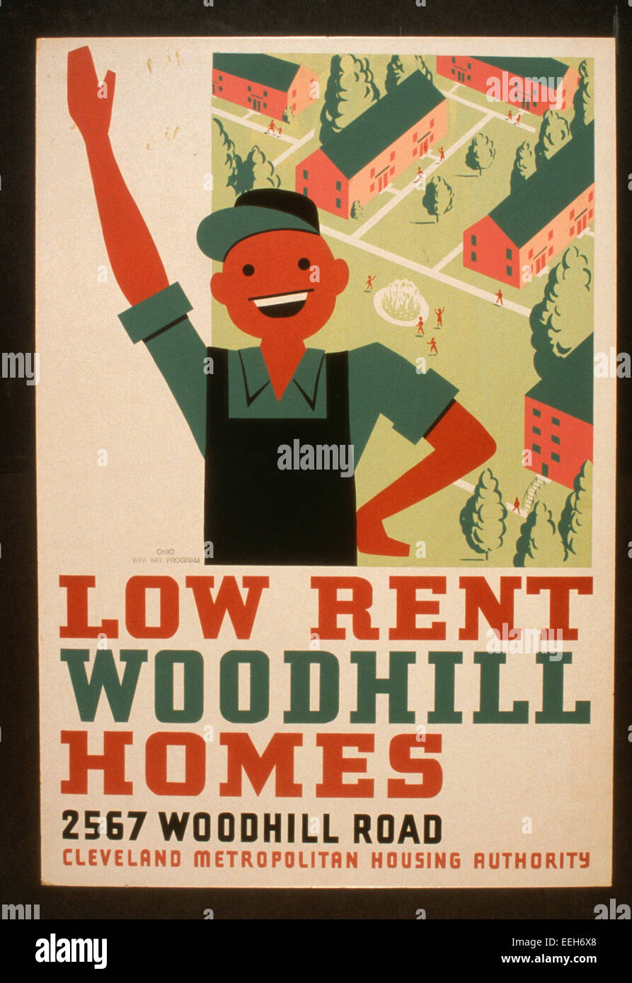 Low rent - Woodhill Homes, 2567 Woodhill Road - WPA Poster for Cleveland Metropolitan Housing Authority promoting - Stock Image