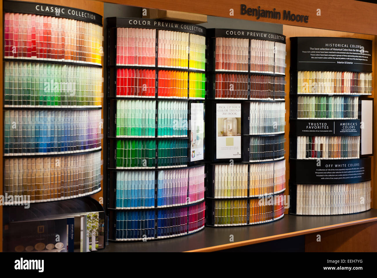 Benjamin moore paint store color display stock photo for Homedepot colorsmartbybehr com paintstore