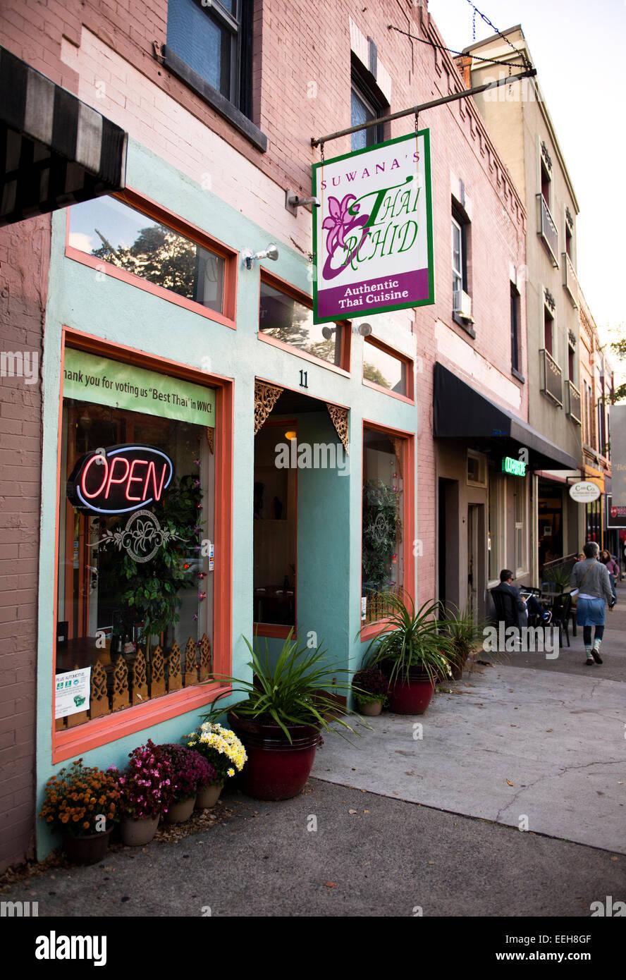 Suwana's Thai Orchid Restaurant in Asheville North Carolina - Stock Image