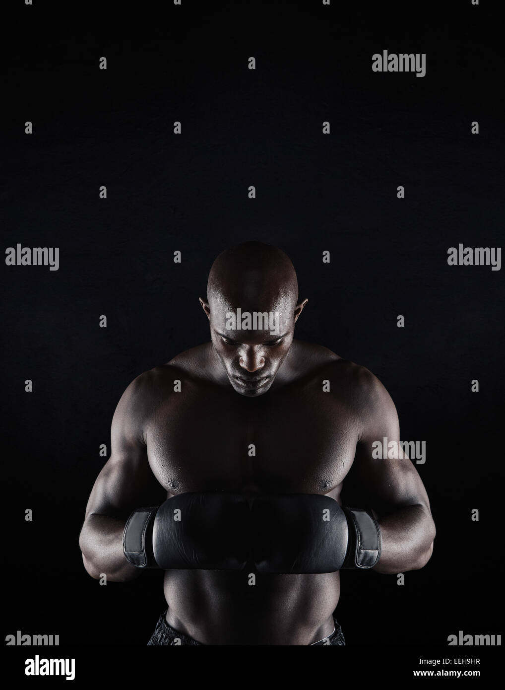 Portrait of professional young male boxer looking down on black background. African boxer preparing for fight. - Stock Image