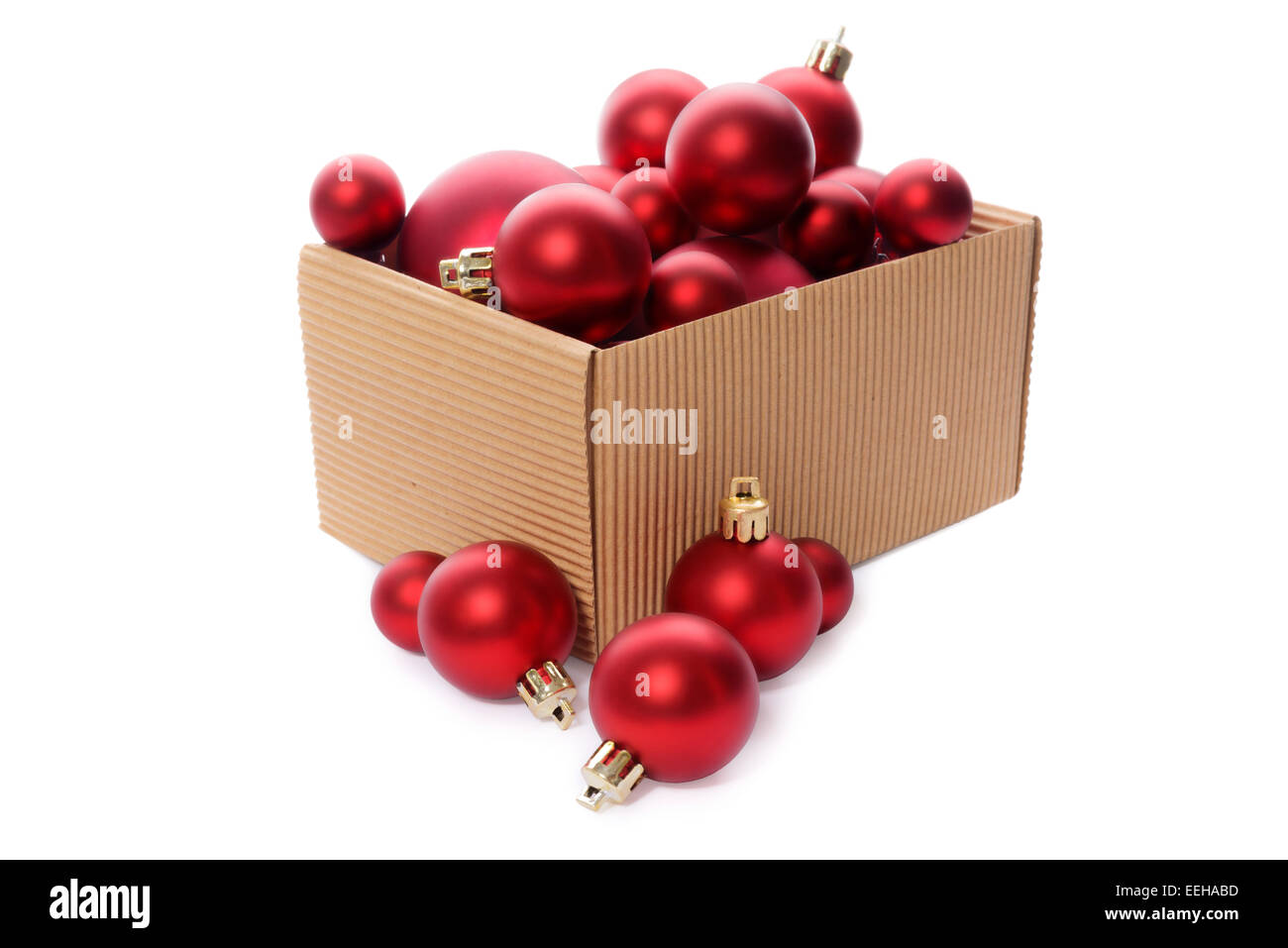 christmas decorations group of red christmas balls in a kraft corrugated cardboard box christmas - Cardboard Christmas Decorations