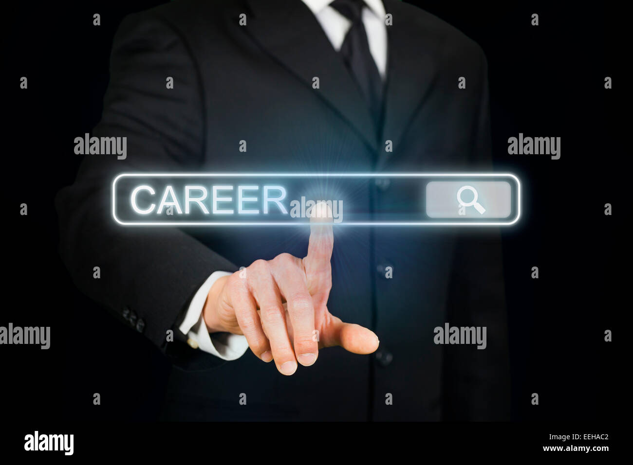 Businessman searching for career - Stock Image