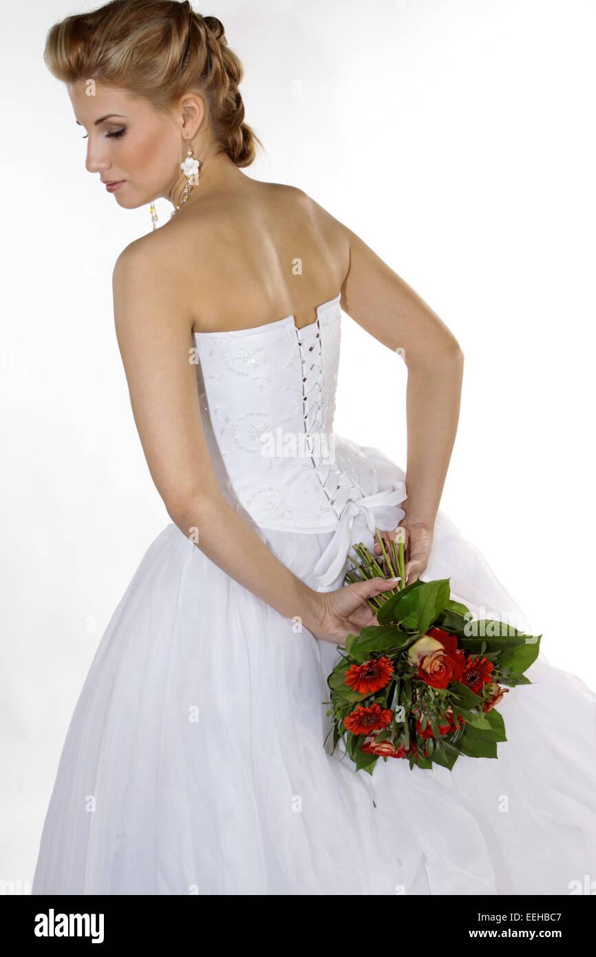 Braut, Hochzeit, Halbportrait, Glueck, Gluecklich, Heirat, Heiraten, Brautkleid, Strauss Brautstrauss, Hochzeitsstrauss, - Stock Image