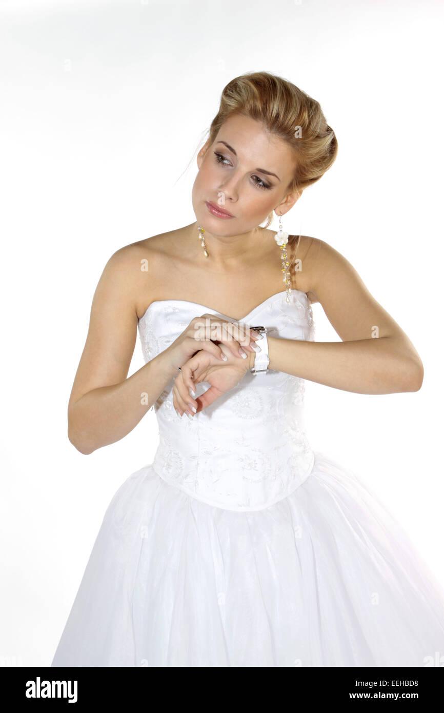 Girl Look Wrist Watch Stock Photos & Girl Look Wrist Watch Stock ...