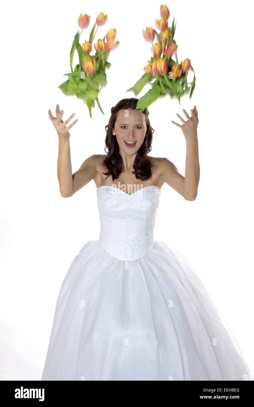 Braut, Hochzeit, Glueck, Gluecklich, Heirat, Heiraten, Brautkleid, Romantik (Modellfreigabe) Stock Photo