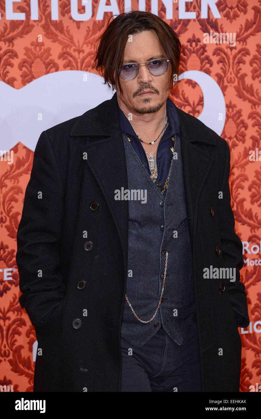 London, UK. 18th Jan, 2015. American actor Johnny Depp attends the Premiere of the film 'Mordecai' in Berlin, - Stock Image