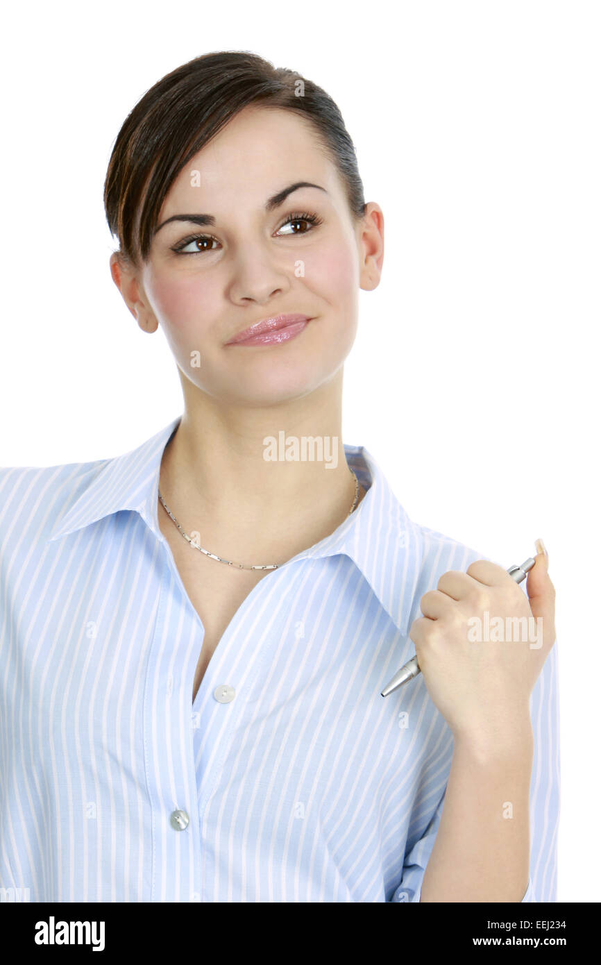 abwaegen, abwarten, aufmerksam, ausbildung, auszubildende, beraterin, beruf, besprechung, bewerben, bewerbung, bluse, Stock Photo