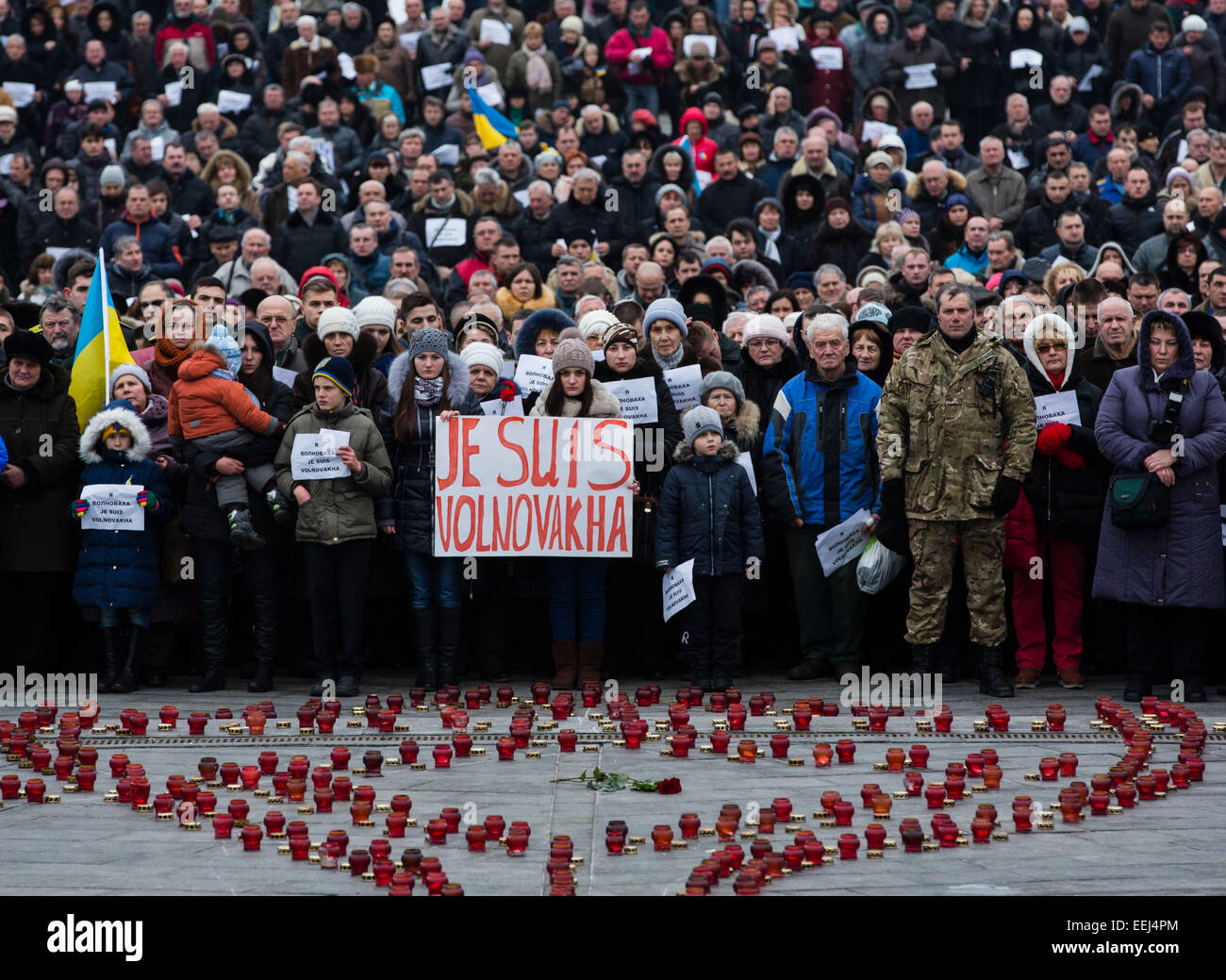 Kiev, Ukraine. 18th Jan, 2015. People at a demonstration to remember 12 people who died on a passenger bus when Stock Photo