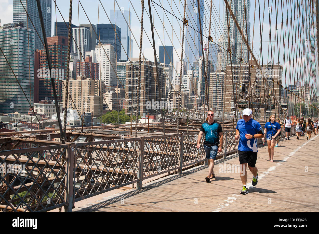 Brooklyn bridge and cityscape, East river, New York, Usa, America - Stock Image