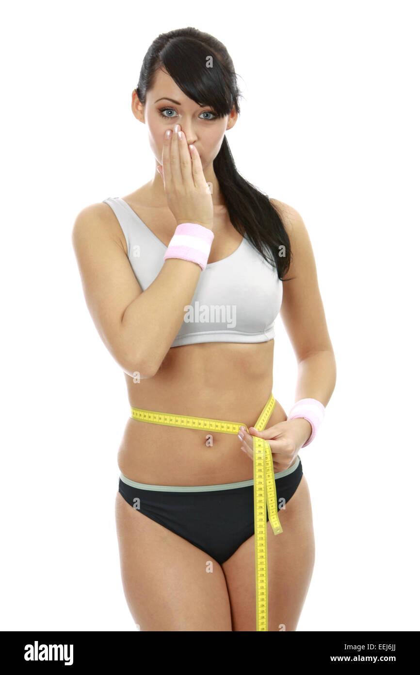 Abnehmen, Anschnitt, Bauch, Diaet, Ernaehrung, Figur, Frauen, Frauenkoerper, Gesundheit, Huefte, Koerper, Leute, - Stock Image
