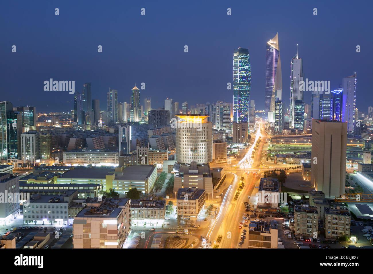 View of Kuwait City at night - Stock Image
