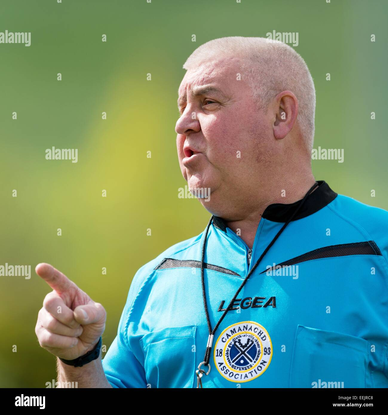 Camanachd Association appointed referee Colin Macdonald.  Officiating at Beauly v Caberfeidh in the National Division, - Stock Image
