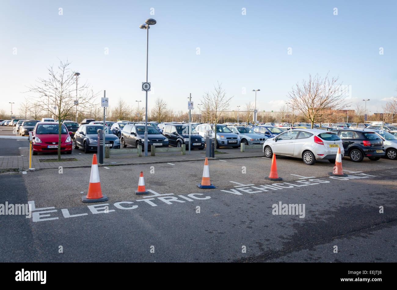 Electric Vehicle (EV) charging point at Trumpington Park & Ride. Cambridge, UK - Stock Image