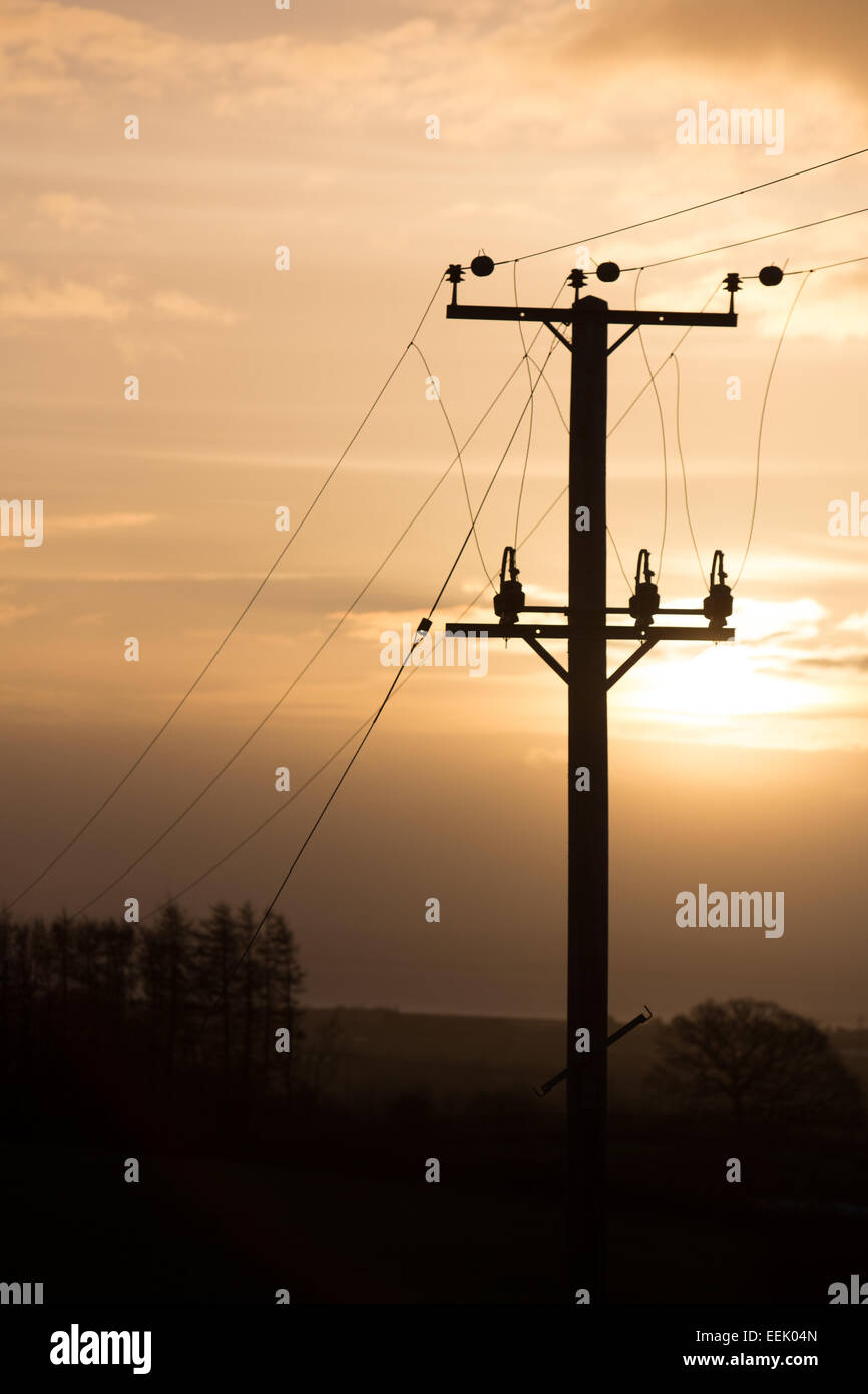 A telegraph pole silhouetted against the rising sun. - Stock Image