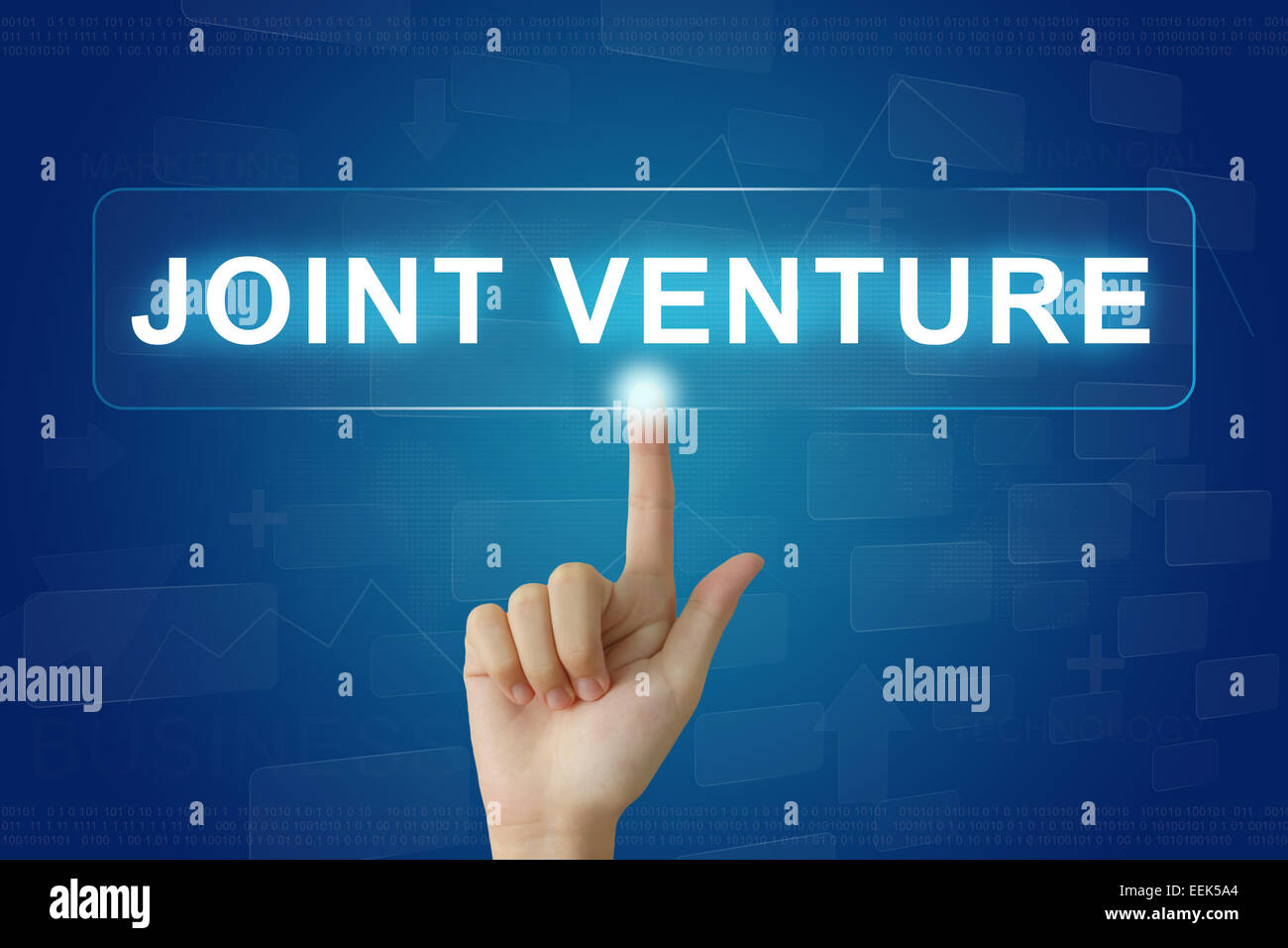 hand press on joint venture button on virtual screen - Stock Image