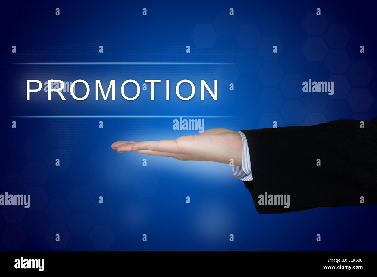 promotion button with business hand on blue background - Stock Image
