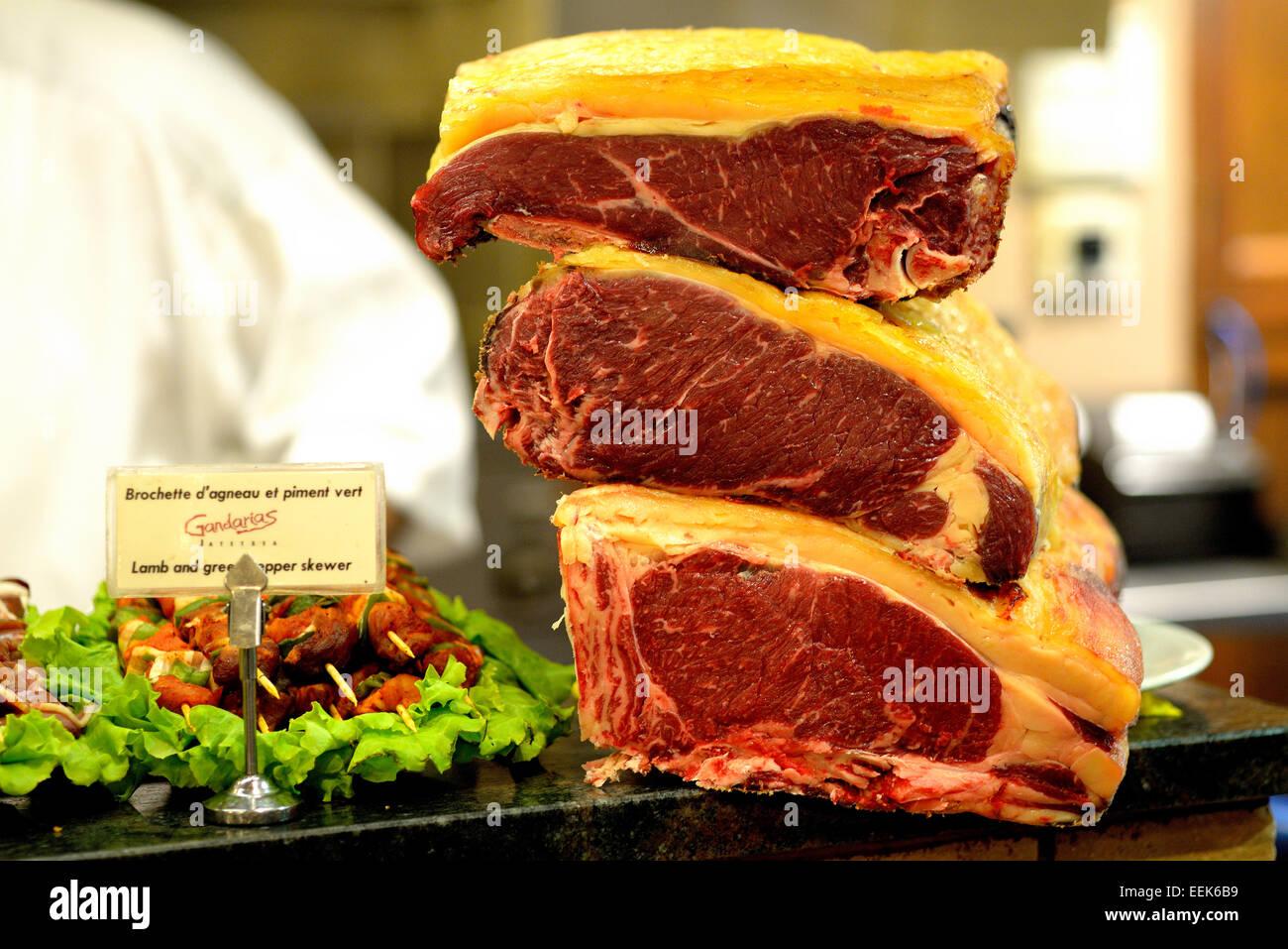Steak in the Restaurant Gandarias, San Sebastian (Donostia) Guipuzkoa, Basque Country, Euskadi, Spain, Europe - Stock Image