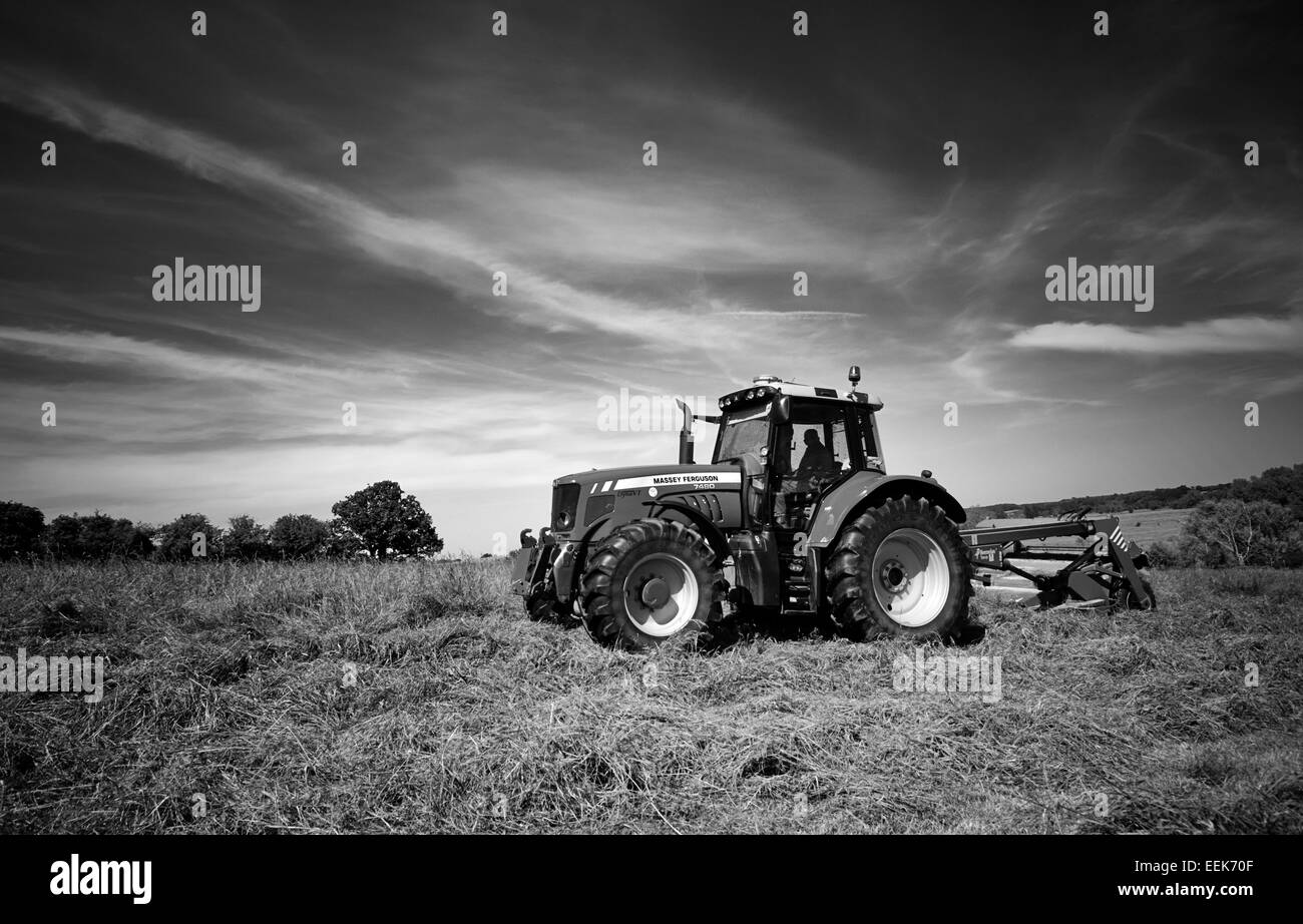 Farmer mowing grass for haylage in summer in Norfolk, UK - Stock Image