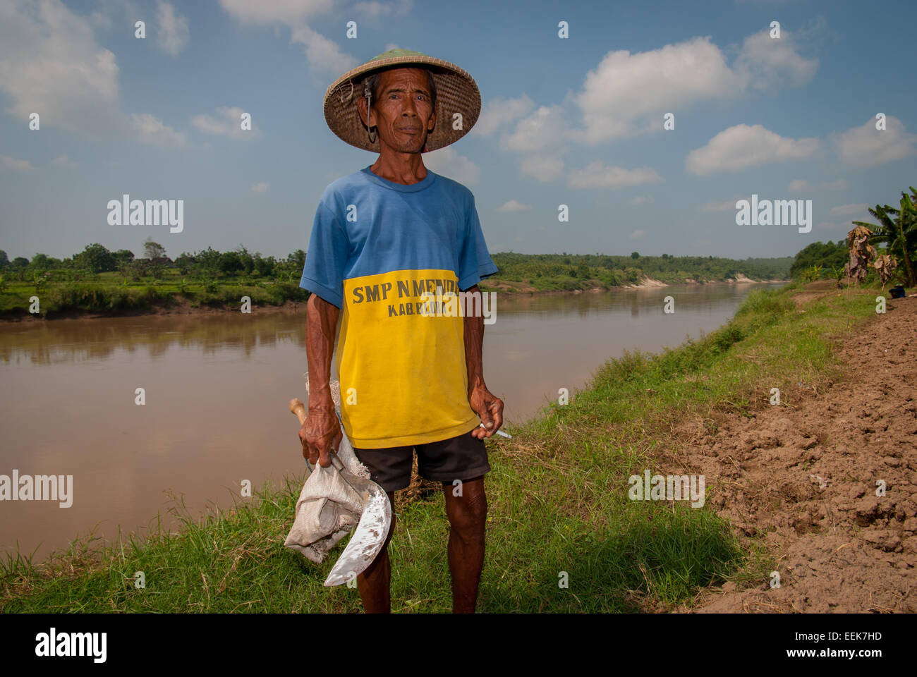 Portrait of Javanese farmer on Bengawan Solo riverbank, Central Java, Indonesia. - Stock Image