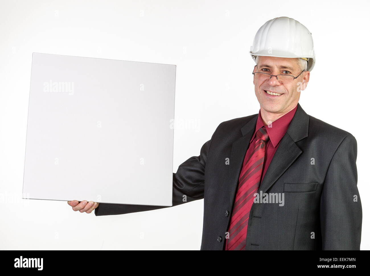 Architekt mit weißer Schrifttafel, Architekt with white script board - Stock Image