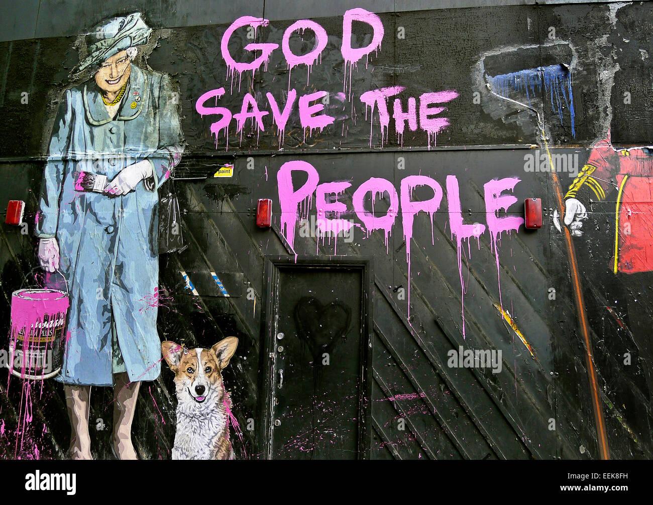 HRH Queen Elizabeth 2nd  and Corgi 'God save the Queen' graffiti - Stock Image