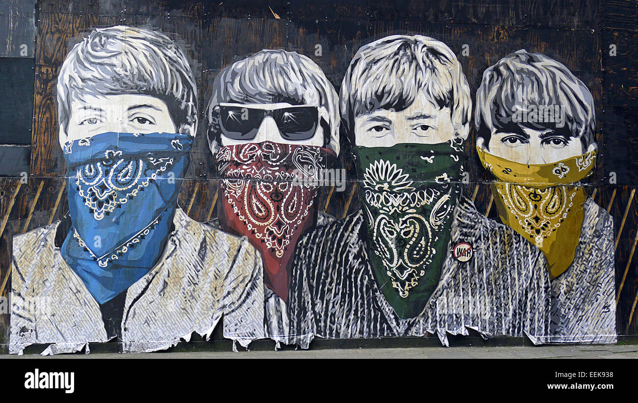 Beatles, wearing colored bandanna handkerchiefs,painting on wall, graffiti - Stock Image