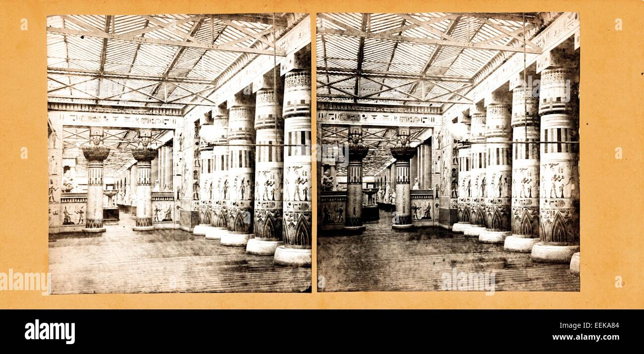 View across the Egyptian Court, Crystal Palace, ca 1860, by Negretti and Zambra - Stock Image