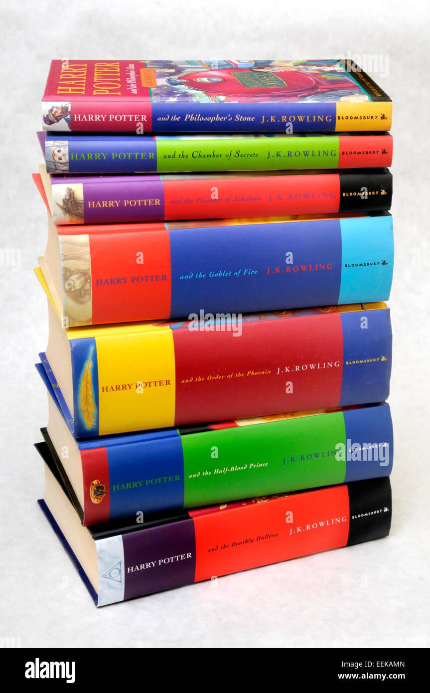Harry Potter books 1-7 in hardback - Stock Image