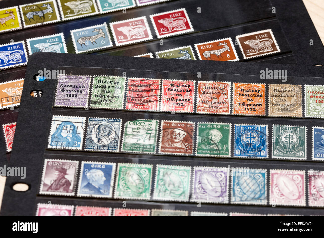 collection of historic vintage old irish stamps - Stock Image