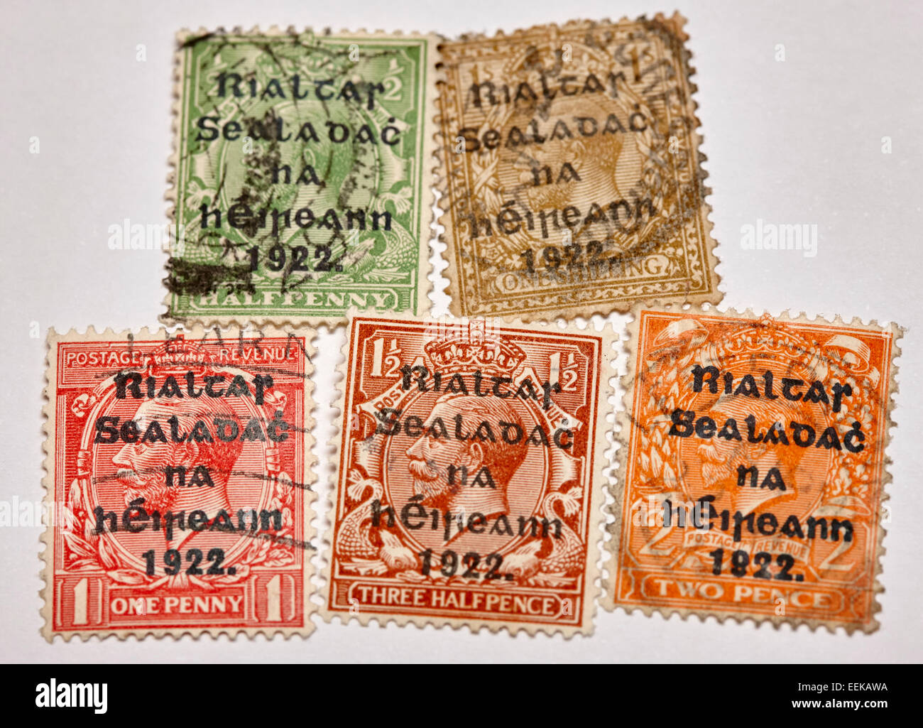 historic vintage old irish stamps british george V stamps overprinted by the provisional government of ireland in - Stock Image