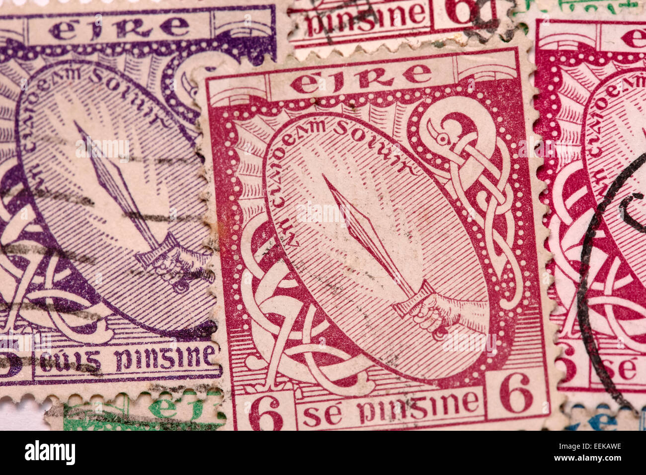 sword of light first definitive series of historic vintage old irish stamps - Stock Image