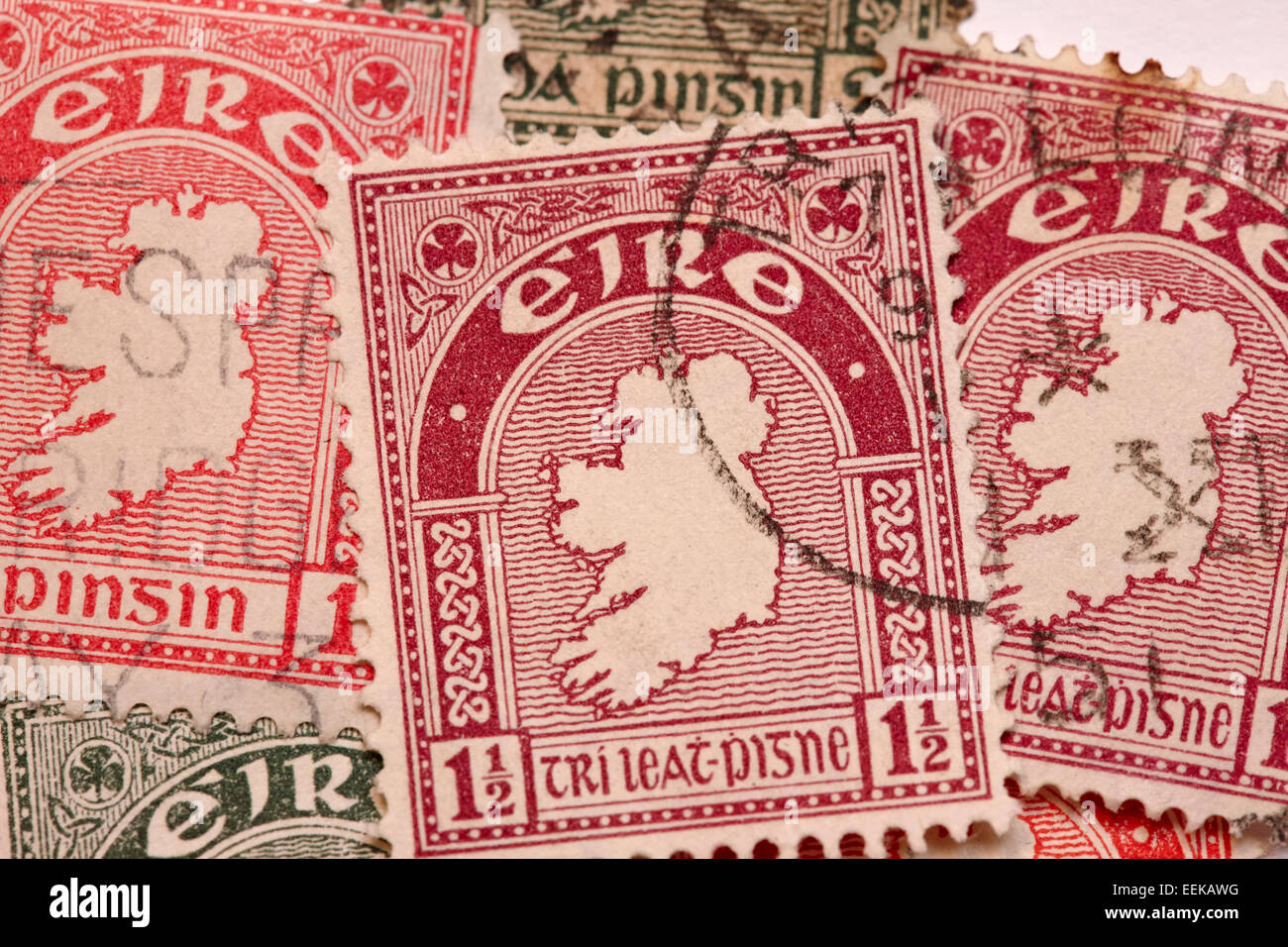 map of ireland first definitive series of historic vintage old irish stamps - Stock Image