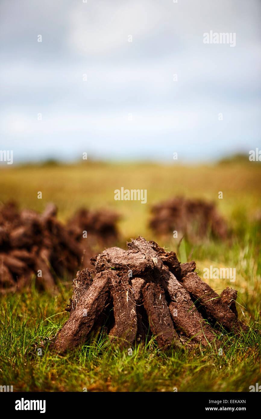 pile of irish peat turf fuel drying in the bog for domestic use - Stock Image
