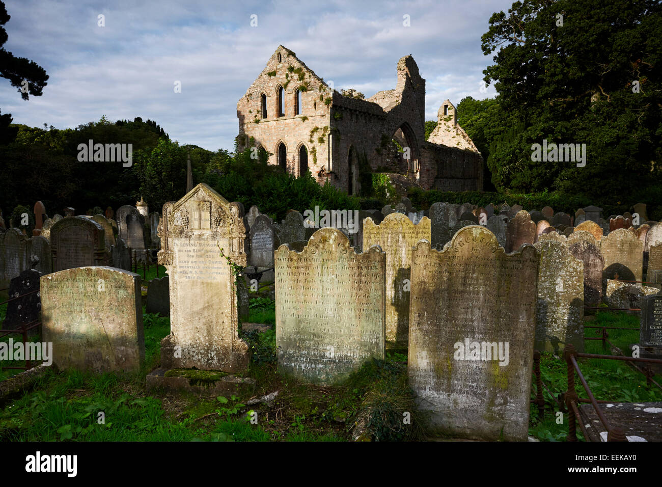 greyabbey cistercian abbey and graveyard in county down northern ireland - Stock Image
