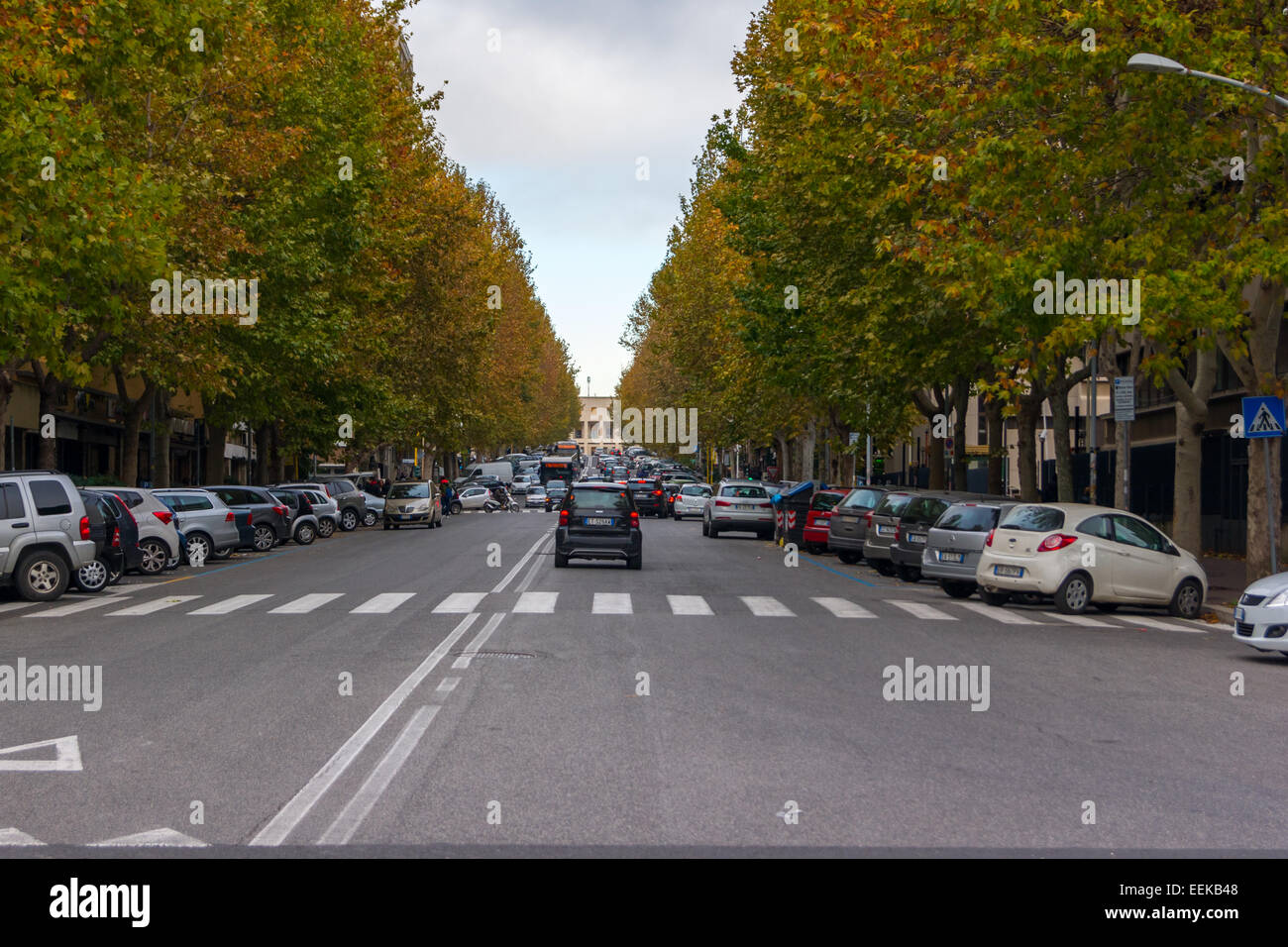 Road in the EUR district of Rome, Italy - Stock Image
