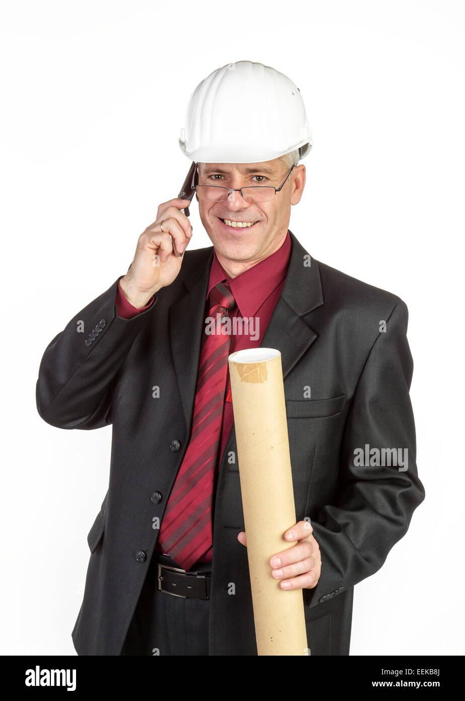 Architekt telefoniert Architekt telephones - Stock Image