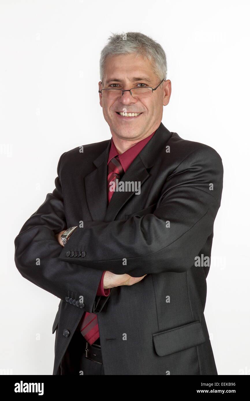 Geschäftsmann mittleren Alters, Porträt, Portrait of middle-aged businessman - Stock Image