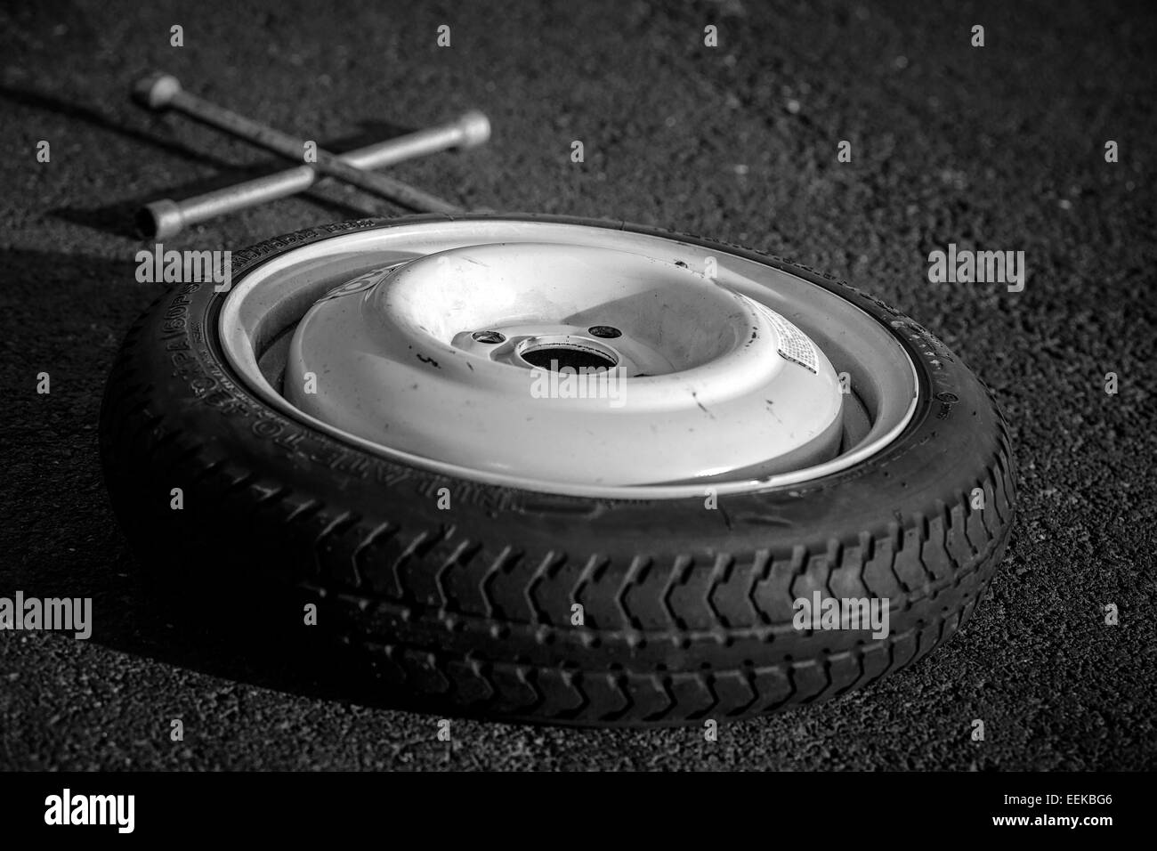 Spare wheel of a car Stock Photo
