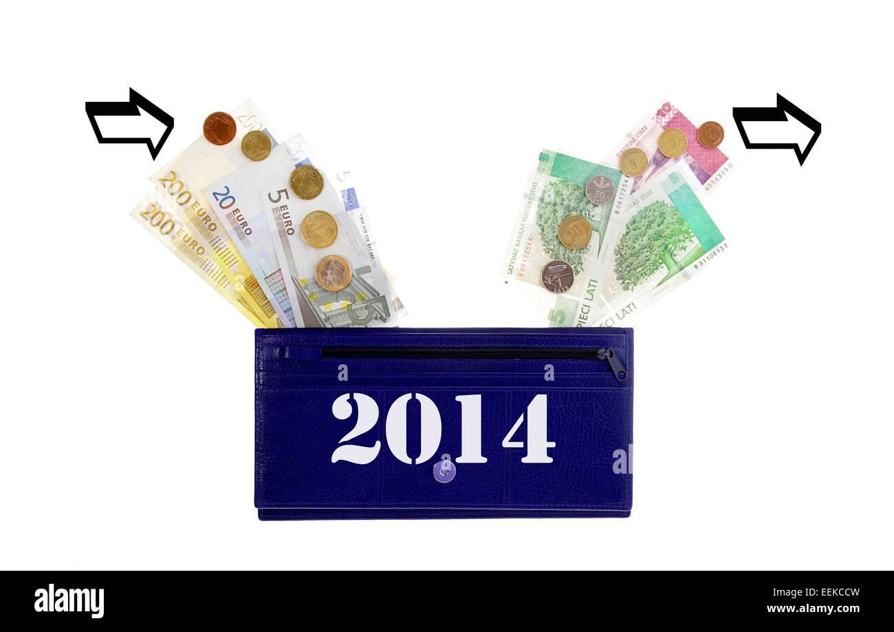 lats turnover euro change 2014 latvia - Stock Image