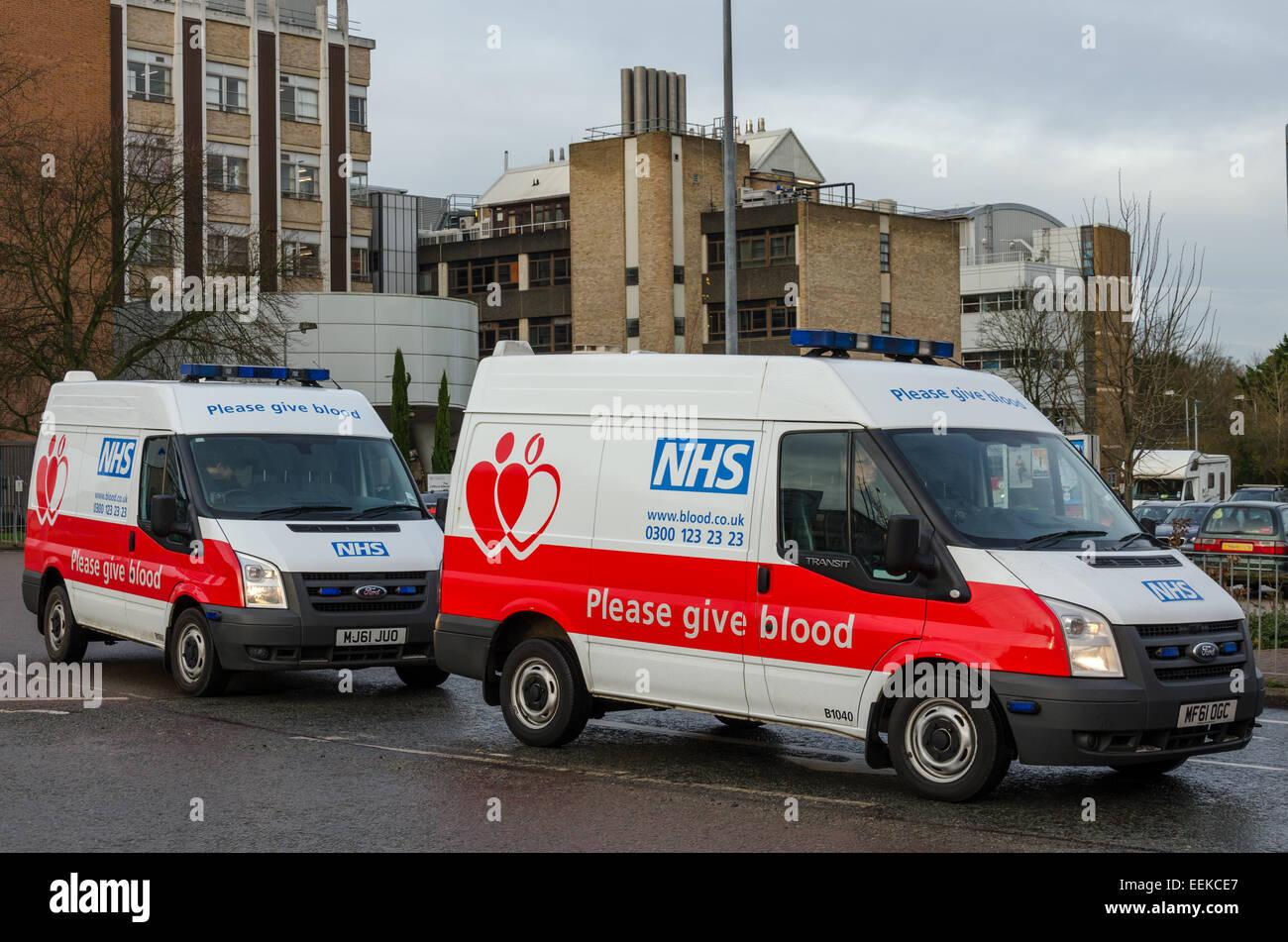 NHS 'Give Blood' vans at Addenbrooke's Hospital, Cambridge, UK - Stock Image