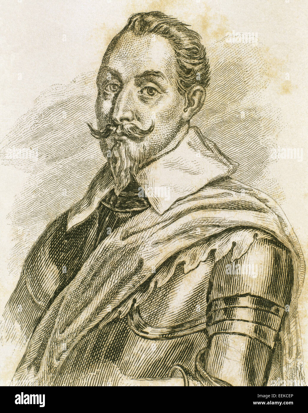 Gustav II Adolf (1594-1632). King of Sweden from 1611 to 1632. Portrait. Engraving. Stock Photo